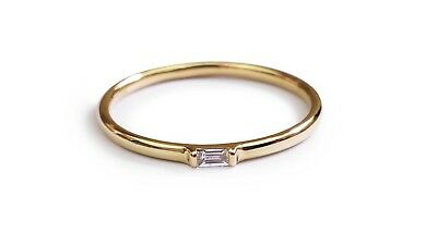 AU195 • Buy Baguette Diamond Solid Gold Ring 14K Yellow Gold
