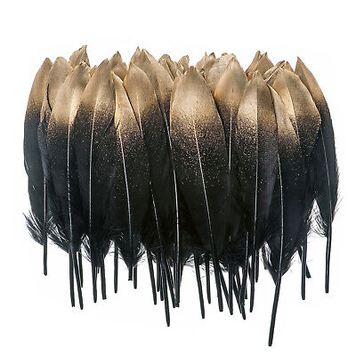 £5.08 • Buy 50PCS Gold Natural Goose Feather For Millinery DIY Art Craft Home Decor