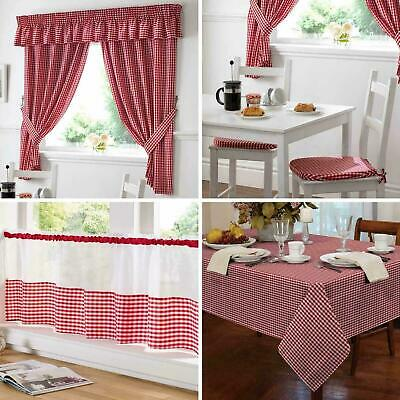 TM Gingham Check Red Kitchen / Cafe Curtains - Pelmets - Seat Pads - Tablecloths • 9.99£