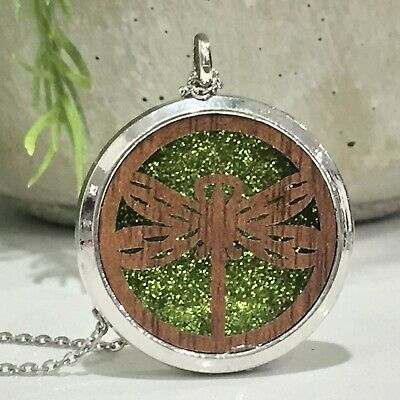AU16.95 • Buy New Wood Dragonfly Aromatherapy Diffuser Essential Oil Necklace 10 Perfume Pads