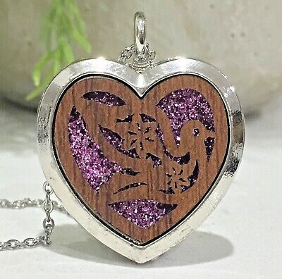 AU15.95 • Buy Wood Heart Dove Bird Aromatherapy Diffuser Essential Oil Necklace 10 Perfume Pad