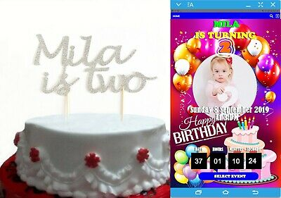 AU5.75 • Buy 2nd Two Personalised Glitter Birthday Cake Topper + Custom Iphone/ Android App