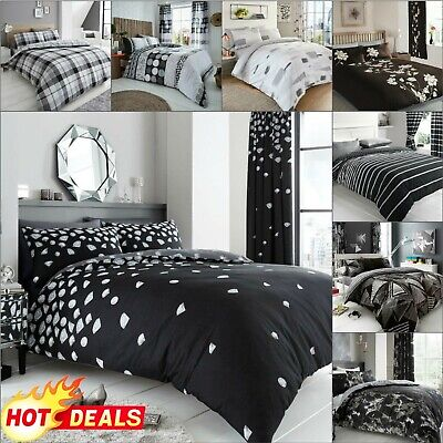 BLACK AND WHITE DUVET COVER With Pillowcase Quilt Bedding Set Double King Size • 8.40£