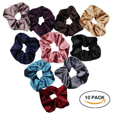 $6.50 • Buy Velvet Scrunchies For Hair - 10-Pack Velvet Hair Scrunchie Elastics Hair Ties