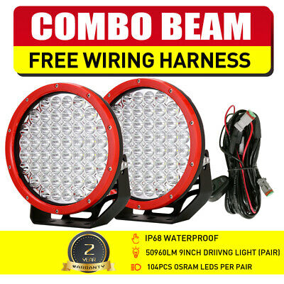 AU135.99 • Buy OSRAM RED Pair 9  LED Driving Lights Combo Spot Flood Offroad Truck ATV SUV 4x4
