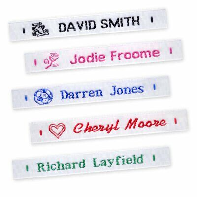 72 Woven Sew On Name Tapes School Tags Labels Clothing Personalized Lettering • 10.25£