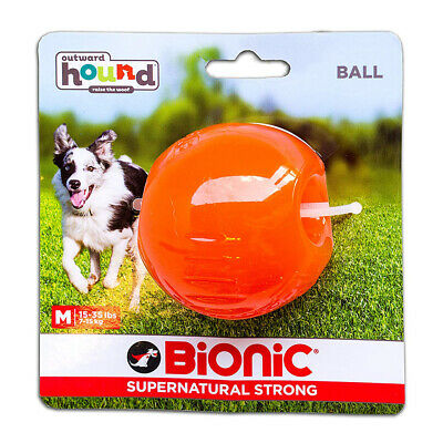 Bionic Ball Orange Durable Dog Treat Toy Medium | Strong Tough Hard Chew Floats • 10.65£