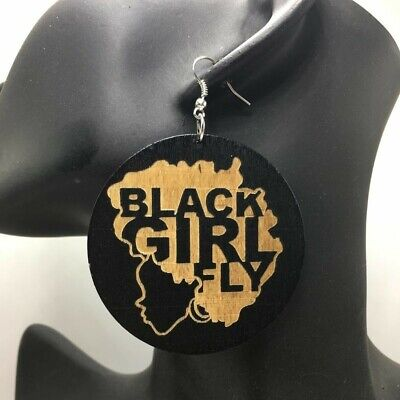 Black Girl Fly  Afrocentric Wooden Earrings • 4.29£