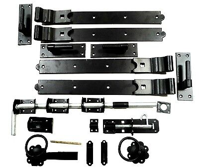 Gate Kit Fitting Hinges Double Garage Door 18 To 36 Inch Galv / Black Heavy Duty • 56.76£