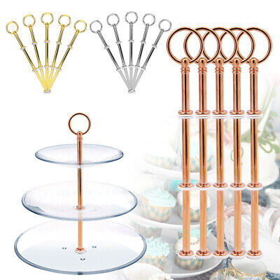 £8.99 • Buy 3 Tier Metal Cake Plates Stand Fittings Afternoon Tea Wedding Party Tableware X5