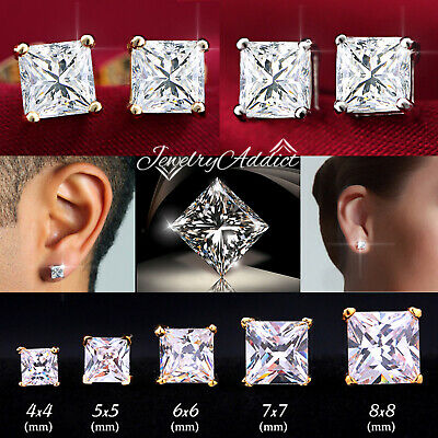AU6.99 • Buy 18K GOLD GF 3mm-10mm MENS WOMEN KID CT SQUARE DIAMOND STUD EARRINGS EAR Piercing