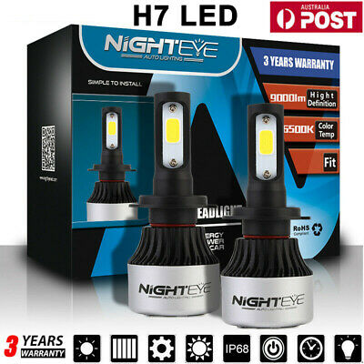 AU35.99 • Buy NIGHTEYE H7 Car LED Headlight 72W 9000LM Globes Bulbs 6500K White Beam Lamps AU