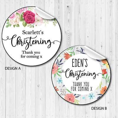 £2.50 • Buy Personalised Baby Christening Favour Stickers,sweet Cones,party Bags Floral