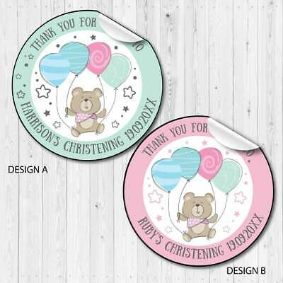 £2 • Buy Personalised Baby Christening Favour Stickers,sweet Cones,party Bags Teddy Bear