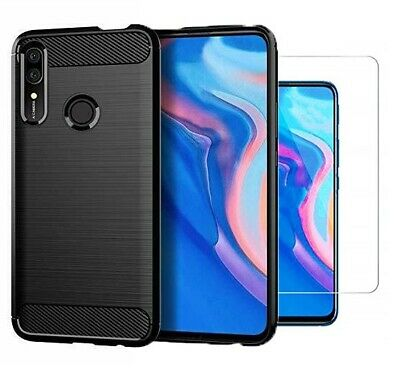 For Huawei Y9 Prime (2019) Case Carbon Fibre Cover & Glass Screen Protector • 4.75£