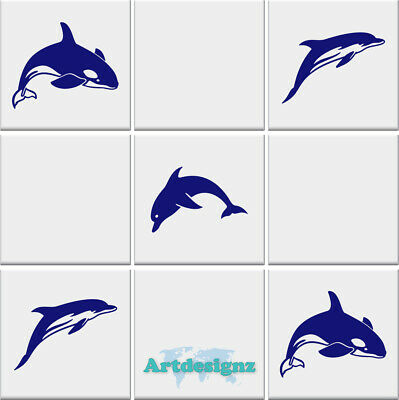 DOLPHIN Tile Stickers Bathroom Vinyl Wall Art Decal Transfer *3 Designs*  • 4.49£