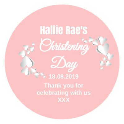 24 Personalised Christening Baptism Stickers Sweet Cone Labels 45mm Design 1 • 2.49£