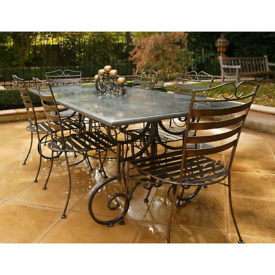 AU2999 • Buy Outdoor Dining Grey Granite Stone Table Set 1.8m Wrought Iron Base 6x DC Chairs