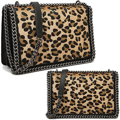 Leopard Print Cross Body Bag Metal Chain Evening Bag Animal Print Bag Handbag • 21.95£