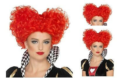 Ladies Fancy Dress Queen Of Hearts Red Wonderland Wig Elizabethan Royal Gaga Fun • 18.51£