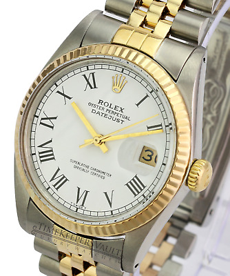 $ CDN7688.76 • Buy Rolex Datejust Mens 18K Yellow Gold & Steel Watch White Roman Dial Jubilee 16013