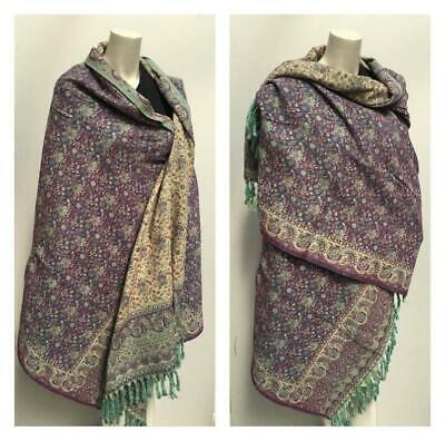 Yak Wool Shawl Purple Beige Colour Floral Reversable SCARF,BLANKET Unisex Gift • 28.99£