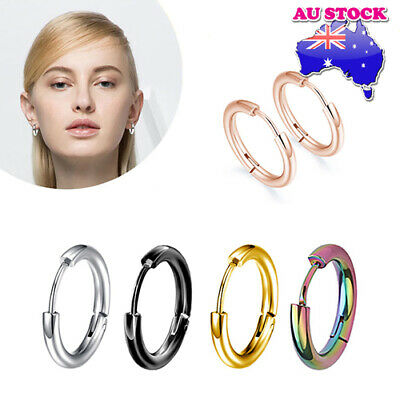 AU5.96 • Buy Wholesale 1Pair Surgical Steel Titanium Polished Hinged Sleeper Hoop Earrings