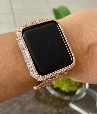 $ CDN50.07 • Buy Series 1,2,3 Bling Apple Watch Bezel Face Case Cover Rose Gold Zirconia 38/42 Mm