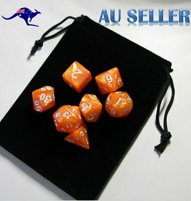 AU8.97 • Buy Dice 7 Piece Set D & D Orange Pearl Polyhedral Dice For RPG Dungeons & Dragons