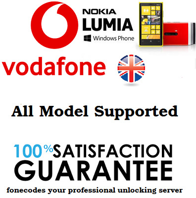 Vodafone UK Unlock Code Nokia Lumia 550 640 650 950 1320 • 2.49£