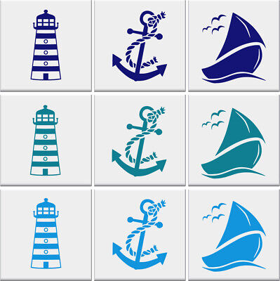 LIGHTHOUSE ANCHOR SAIL BOAT Tile Stickers Bathroom Nautical Wall Art *3 DESIGNS* • 2.99£