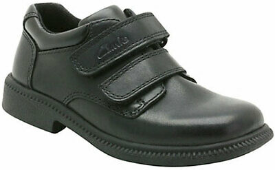 Clarks Boys Black Leather School Shoes DEATON 9- 11 H Fit NEW BOXED • 26£