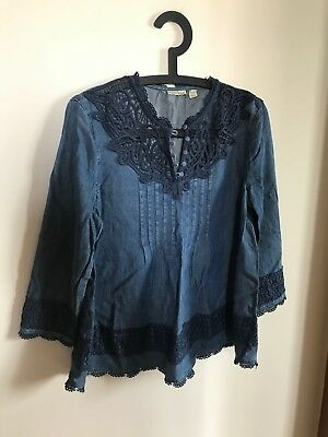 $ CDN39.99 • Buy New Anthropologie Holding Horses Denim Tencel Blue Lace Blouse Crochet Sz 4