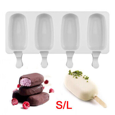 4 Cell Frozen Ice Cream DIY Pop Mold Popsicle Maker Lolly Mould Tray Pan Kitchen • 4.45£