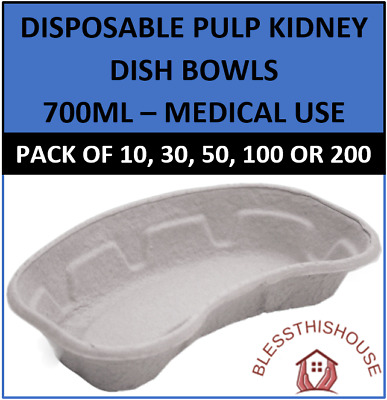 Disposable Pulp Kidney Dish Bowls 700ml - 250 X 146 X 50 (mm) - Medical Use Tray • 4.45£