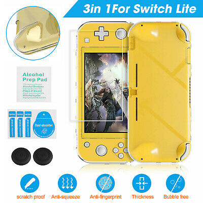 For Nintendo Switch Lite Clear Hard Cover Case Anti-Scratch +Tempered Glass Film • 8.57$