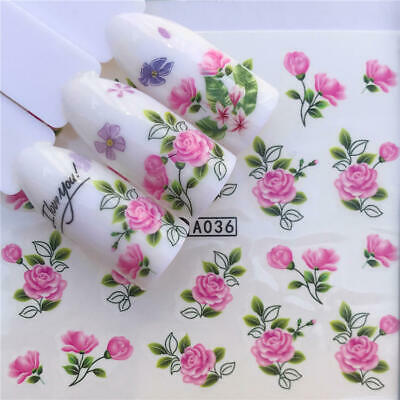 Nail Art Water Decals Stickers Transfers Pretty Pink Flowers Floral Rose (A036) • 1.85£