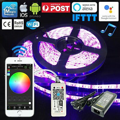 AU39.51 • Buy 1M-10M RGB LED Waterproof Strip Lights Wifi Controller Smartphone IOS Android