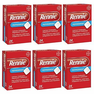Rennie Peppermint Indigestion Heartburn Relief Antacid 24 Tablets 1,3 Or 6 Packs • 3.19£