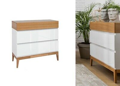 WHITE GLOSS OAK Chest Of 3 Drawers Scandinavian Japanese Storage Unit Kioto • 319.95£