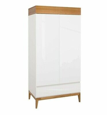 WHITE GLOSS OAK Double 2Door Wardrobe Drawer Storage Scandinavian Japanese Kioto • 464.95£