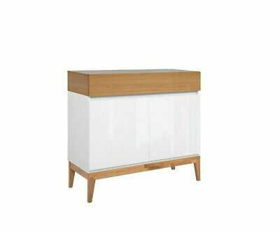 White Gloss Oak Small Cabinet Cupboard Sideboard Scandinavian Japanese Kioto • 289.95£