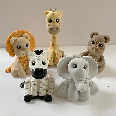 £7.95 • Buy Jungle And Zoo Animal Cake Toppers / Edible Sugar Cake Decoration