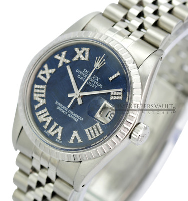 $ CDN6623.17 • Buy Rolex Mens Datejust SS Blue Meteorite Diamond Dial Fluted Bezel 36mm Watch