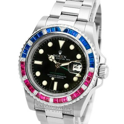$ CDN24586.76 • Buy Rolex  Mens GMT-Master II 116710 Stainless Steel Ruby Diamond Sapphires Watch