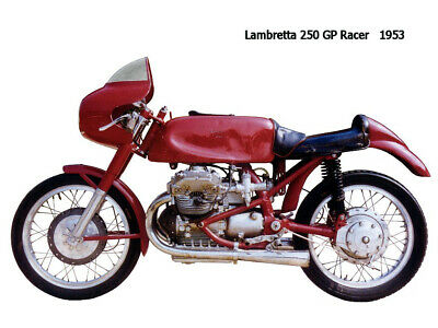 Motorcycle Canvas Picture Lambretta 250 GPRacer 1953 Canvas 16x12 Inch • 19.99£