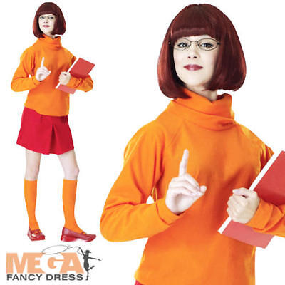 Velma + Wig Ladies Scooby Doo Fancy Dress Halloween Womens Adult Costume Outfit • 35.99£