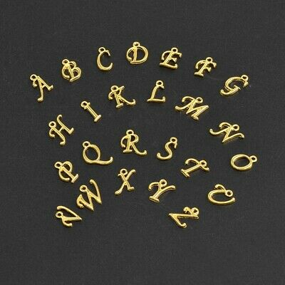 £0.99 • Buy Gold Colour Alphabet Letter Charm Personalised Name Bracelet Jewellery Making