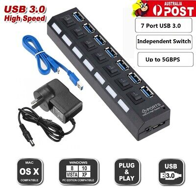 AU20.49 • Buy 7 Port USB 3.0 HUB Powered + High Speed Splitter Extender PC AC Adapter Cable AU