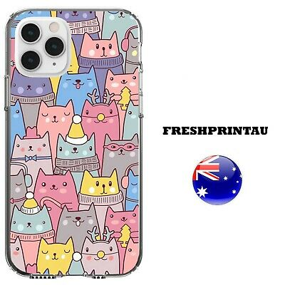 AU15.50 • Buy Case Cover Silicone Cute Kawaii Kittens Cats Collage Happy Colourful Cartoon Fun